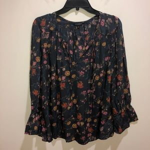 Lucky Brand Women's Size L Gray Floral Boho Top